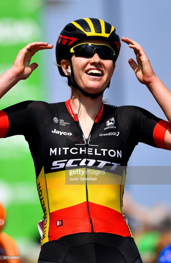Arrival / Jolien DHoore of Belgium and Team Mitchelton-Scott / Celebration / during the 5th OVO Energy Women's Tour 2018, Stage 1 a 130km stage from Framlingham to Southwold on June 13, 2018 in Southwold, England.