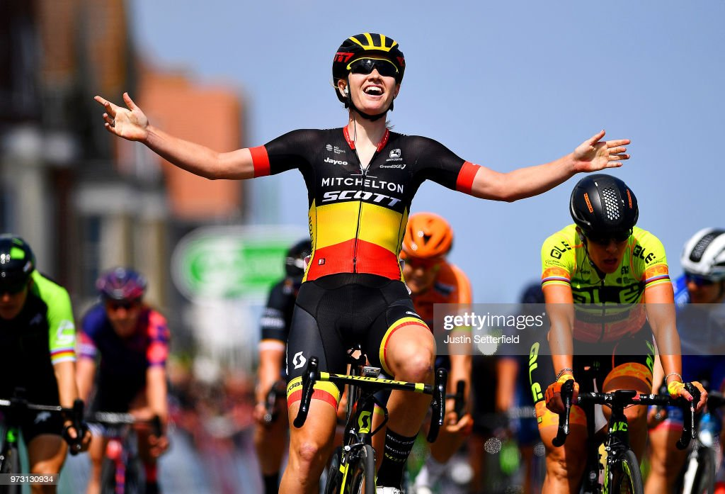 Arrival / Jolien DHoore of Belgium and Team Mitchelton-Scott / Celebration / Marta Bastianelli of Italy and Team Ale Cipollini / during the 5th OVO Energy Women's Tour 2018, Stage 1 a 130km stage from Framlingham to Southwold on June 13, 2018 in Southwold, England.