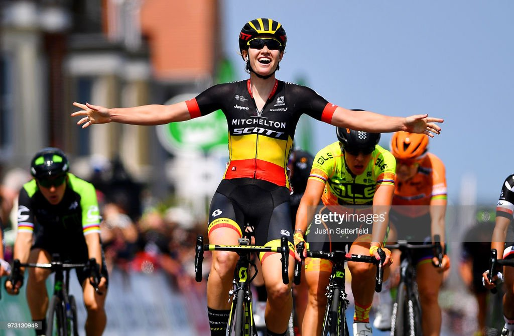 Arrival / Jolien DHoore of Belgium and Team Mitchelton-Scott / Celebration / Marta Bastianelli of Italy and Team Ale Cipollini / Coryn Rivera of The United States and Team Sunweb / during the 5th OVO Energy Women's Tour 2018, Stage 1 a 130km stage from Framlingham to Southwold on June 13, 2018 in Southwold, England.
