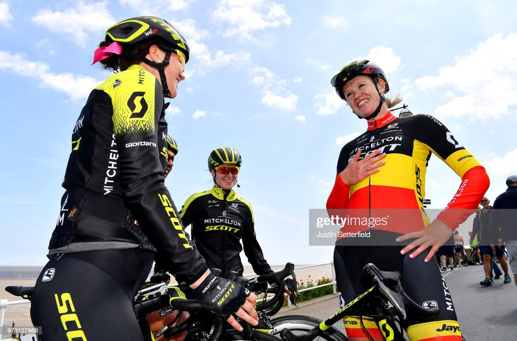 Arrival / Jolien DHoore of Belgium and Team Mitchelton-Scott / Sarah Roy of Australia and Team Mitchelton-Scott / Alexandra Manly of Australia and Team Mitchelton-Scott / Celebration / during the 5th OVO Energy Women's Tour 2018, Stage 1 a 130km stage from Framlingham to Southwold on June 13, 2018 in Southwold, England.