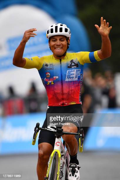 Arrival / Jonathan Caicedo Cepeda of Ecuador and Team EF Pro Cycling / Celebration / Etna / during the 103rd Giro d'Italia 2020, Stage Three a 150km...