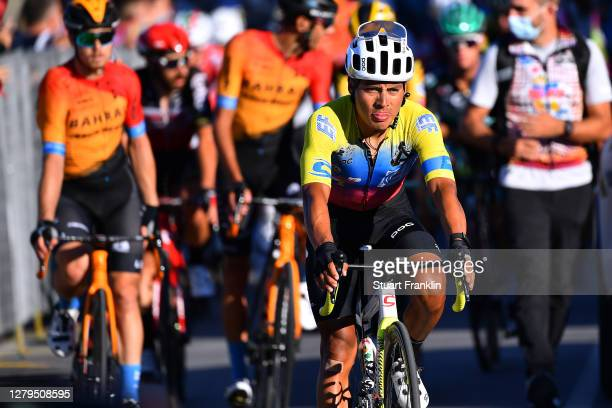 Arrival / Jonathan Caicedo Cepeda of Ecuador and Team EF Pro Cycling / during the 103rd Giro d'Italia 2020, Stage Eight a 200km stage from Giovinazzo...