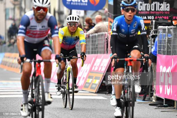 Arrival / Jonathan Caicedo Cepeda of Ecuador and Team EF Pro Cycling / during the 103rd Giro d'Italia 2020, Stage 16 a 229km stage from Udine to San...
