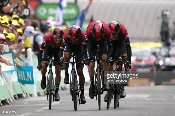 Arrival / Jonathan Castroviejo of Spain and Team INEOS / Geraint Thomas of United Kingdom and Team INEOS / Egan Bernal of Colombia and Team INEOS /...