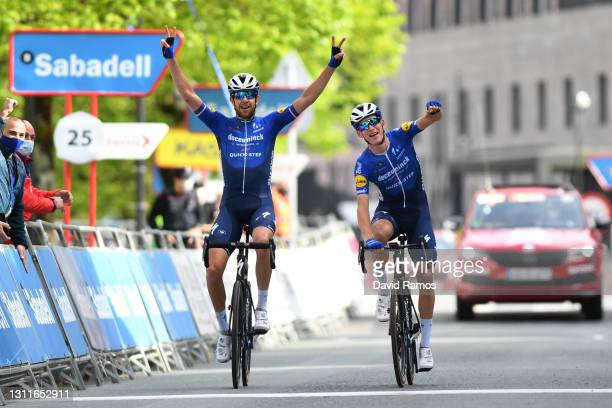 Arrival / Josef Cerny of Czech Republic & Mikkel HonorŽ of Denmark and Team Deceuninck - Quick-Step Celebration, during the 60th Itzulia-Vuelta...