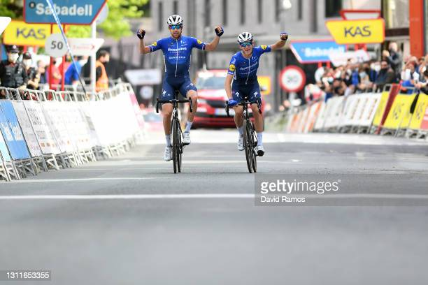 Arrival / Josef Cerny of Czech Republic & Mikkel HonoreŽ of Denmark and Team Deceuninck - Quick-Step Celebration, during the 60th Itzulia-Vuelta...