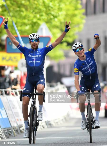 Arrival / Josef Cerny of Czech Republic & Mikkel HonoreŽ of Denmark and Team Deceuninck - Quick-Step Celebration, during the 60th Itzulia-Vuelta...