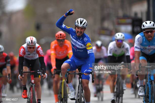 Arrival / Julian Alaphilippe of France and Deceuninck - Quick-Step / Celebration / Davide Cimolai of Italy and Team Israel Cycling Academy / during...