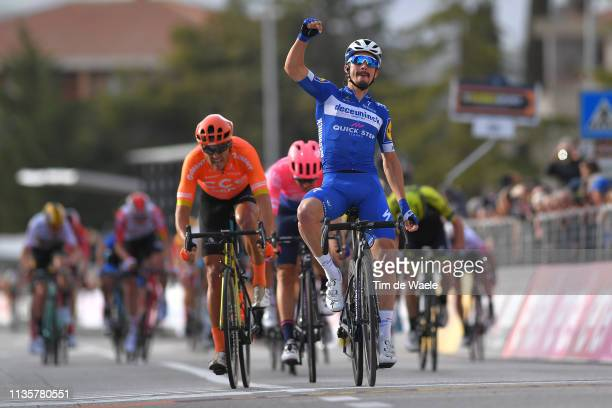 Arrival / Julian Alaphilippe of France and Deceuninck QuickStep / Celebration / Greg Van Avermaet of Belgium and CCC Team / Alberto Bettiol of Italy...