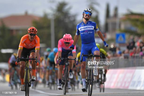 Arrival / Julian Alaphilippe of France and Deceuninck - Quick-Step / Celebration / Greg Van Avermaet of Belgium and CCC Team / Alberto Bettiol of...