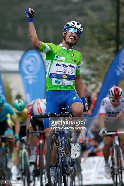 Arrival / Julian Alaphilippe of France and Team Deceuninck QuickStep Green Points Jersey / Celebration / Bjorg Lambrecht of Belgium and Team Lotto...