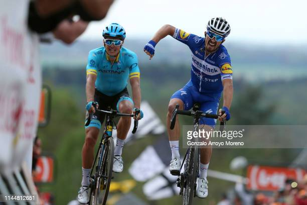 Arrival / Julian Alaphilippe of France and Team Deceuninck - Quick-Step / Celebration / Jakob Fuglsang of Denmark and Astana Pro Team / during the...