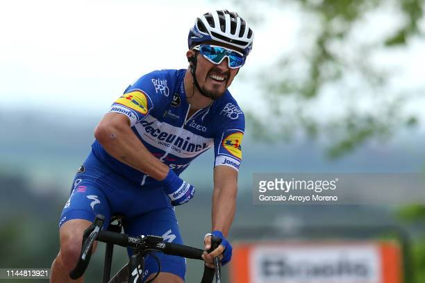 Arrival / Julian Alaphilippe of France and Team Deceuninck - Quick-Step / Celebration / during the 83rd La Fleche Wallonne 2019 a 195,5km race from...