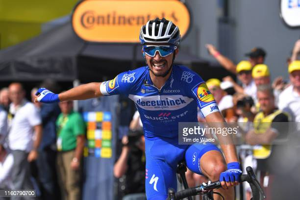 Arrival / Julian Alaphilippe of France and Team Deceuninck QuickStep / Celebration / during the 106th Tour de France 2019 Stage 3 a 215km stage from...