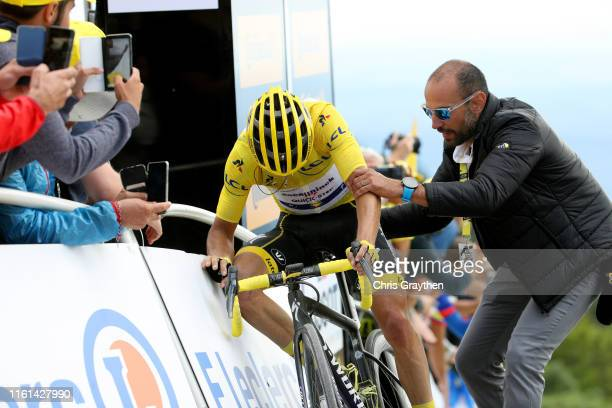 Arrival / Julian Alaphilippe of France and Team Deceuninck - Quick-Step Yellow Leader Jersey / Soigneur / during the 106th Tour de France 2019, Stage...