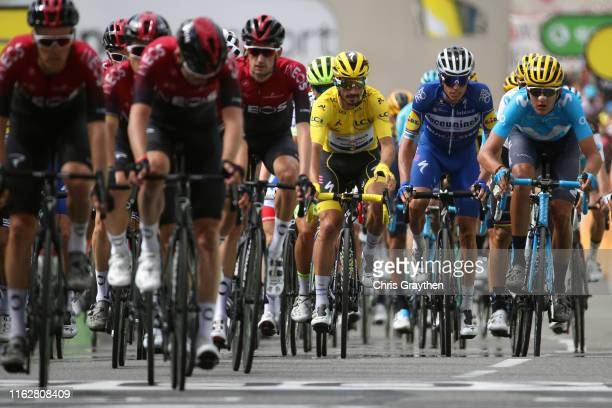Arrival / Julian Alaphilippe of France and Team Deceuninck - Quick-Step Yellow Leader Jersey / Enric Mas of Spain and Team Deceuninck - Quick-Step /...