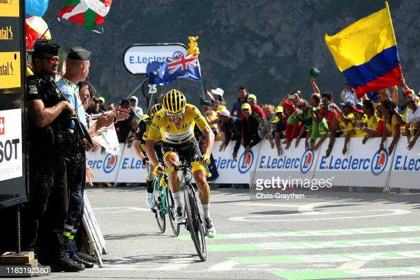 Arrival / Julian Alaphilippe of France and Team Deceuninck - Quick-Step Yellow Leader Jersey / during the 106th Tour de France 2019, Stage 14 a 117km...