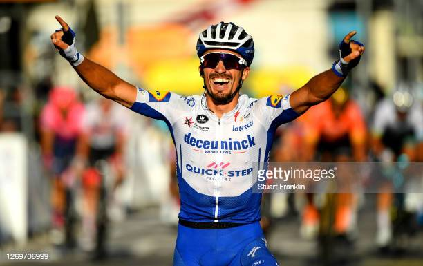 Arrival / Julian Alaphilippe of France and Team Deceuninck - Quick-Step / Celebration / during the 107th Tour de France 2020, Stage 2 a 186km stage...
