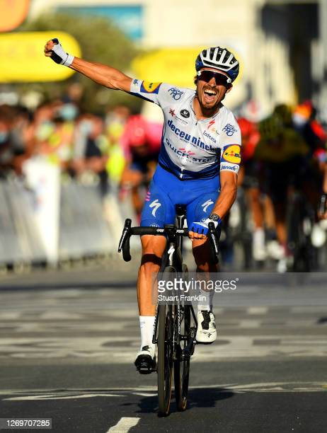Arrival / Julian Alaphilippe of France and Team Deceuninck - Quick-Step / Celebration / Marc Hirschi of Switzerland and Team Sunweb / Adam Yates of...
