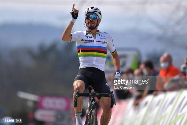 Arrival / Julian Alaphilippe of France and Team Deceuninck - Quick-Step celebrates on arrival during the 85th La Fleche Wallonne 2021, Men Elite a...