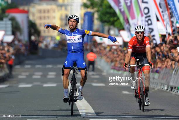 Arrival / Julian Alaphilippe of France and Team QuickStep Floors / Celebration / Bauke Mollema of The Netherlands and Team Trek Segafredo / during...