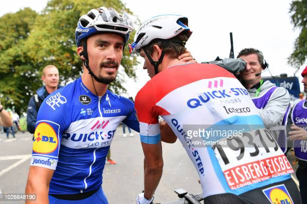 Arrival / Julian Alaphilippe of France and Team Quick-Step Floors / Bob Jungels of Luxembourg and Team Quick-Step Floors / Celebration / during the...