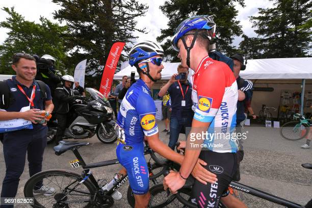 Arrival / Julian Alaphilippe of France and Team Quick-Step Floors / Bob Jungels of Luxembourg and Team Quick-Step Floors / Anthony Pauwels of Belgium...