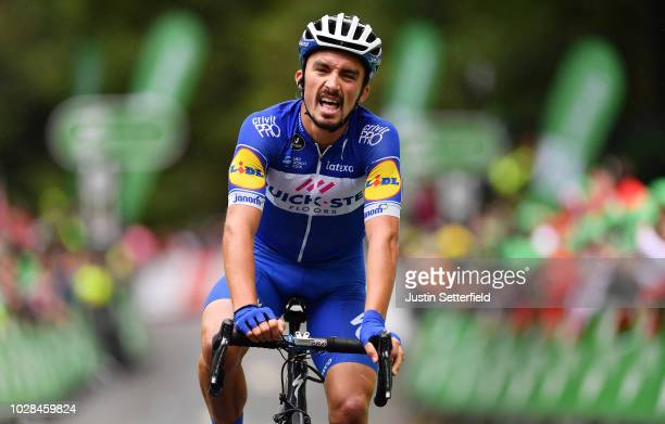 Arrival / Julian Alaphilippe of France and Team QuickStep Floors / during the 15th Tour of Britain 2018 Stage 6 a 1683km stage from BarrowinFurness...