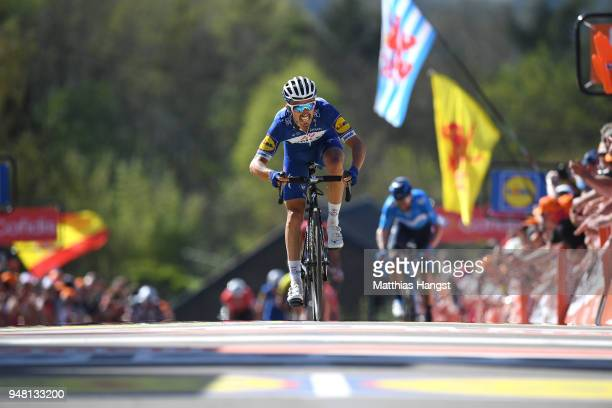 Arrival / Julian Alaphilippe of France and Team QuickStep Floors / during the 82nd La Fleche Wallonne 2018 a 1985km race from Seraing to Mur De Huy...