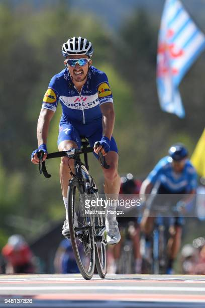 Arrival / Julian Alaphilippe of France and Team Quick-Step Floors / during the 82nd La Fleche Wallonne 2018 a 198,5km race from Seraing to Mur De Huy...