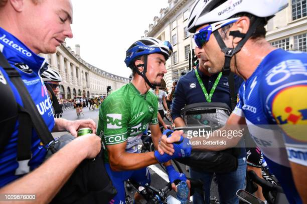 Arrival / Julian Alaphilippe of France and Team QuickStep Floors Green Leader Jersey Celebration / during the 15th Tour of Britain 2018 Stage 8 a...