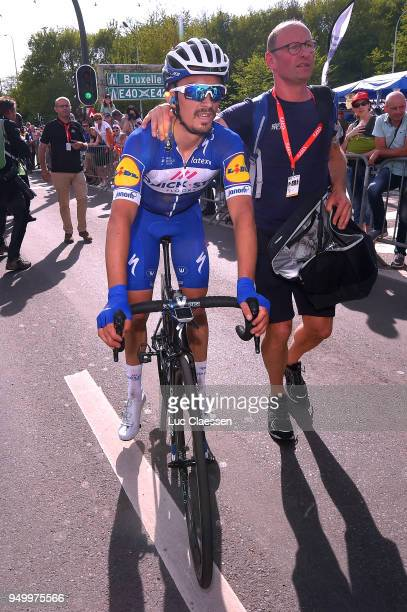 Arrival / Julian Alaphilippe of France and Team QuickStep Floors / Marc Patry of Belgium and Team QuickStep Floors Soigneur / during the104th...
