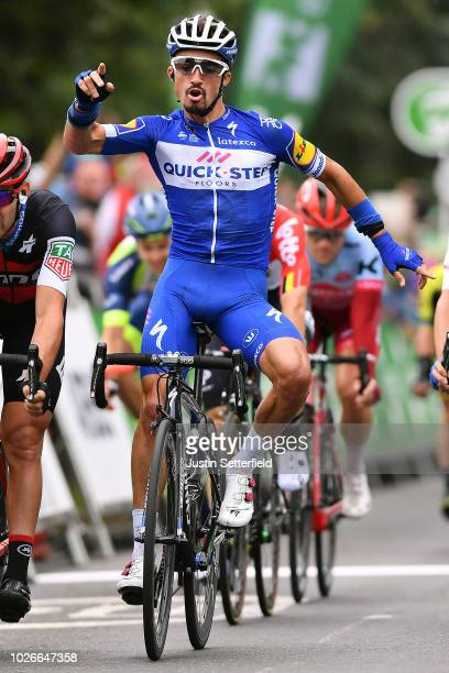 Arrival / Julian Alaphilippe of France and Team QuickStep Floors / Celebration / Patrick Bevin of New Zealand and BMC Racing Team / Emils Liepins of...