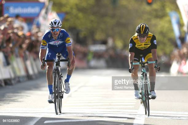 Arrival / Julian Alaphilippe of France and Team QuickStep Floors / Celebration / Primoz Roglic of Slovenia and Team LottoNLJumbo / during the 58th...