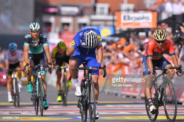 Arrival / Julian Alaphilippe of France and Team Quick-Step Floors / Celebration / Domenico Pozzovivo of Italy and Bahrain Merida Pro Team / during...