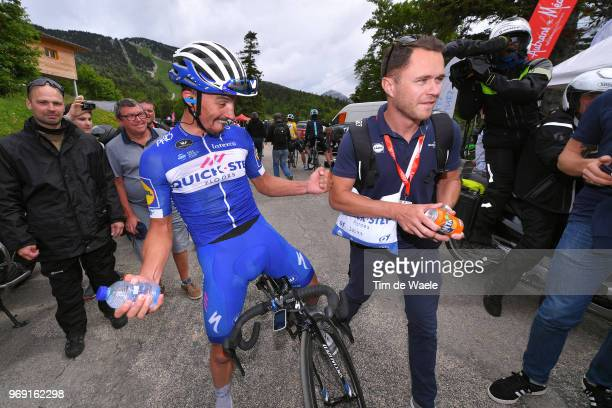 Arrival / Julian Alaphilippe of France and Team QuickStep Floors / Anthony Pauwels of Belgium Soigneur Team QuickStep Floors / Celebration / during...