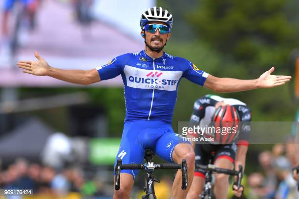 Arrival / Julian Alaphilippe of France and Team QuickStep Floors / Celebration / Daniel Martin of Ireland and UAE Team Emirates / Geraint Thomas of...