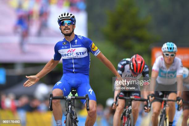 Arrival / Julian Alaphilippe of France and Team Quick-Step Floors / Celebration / Daniel Martin of Ireland and UAE Team Emirates / Geraint Thomas of...