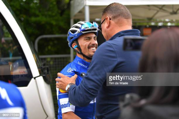 Arrival / Julian Alaphilippe of France and Team Quick-Step Floors / Wilfried Peeters of Belgium Sports director Team Quick-Step Floors / Celebration...