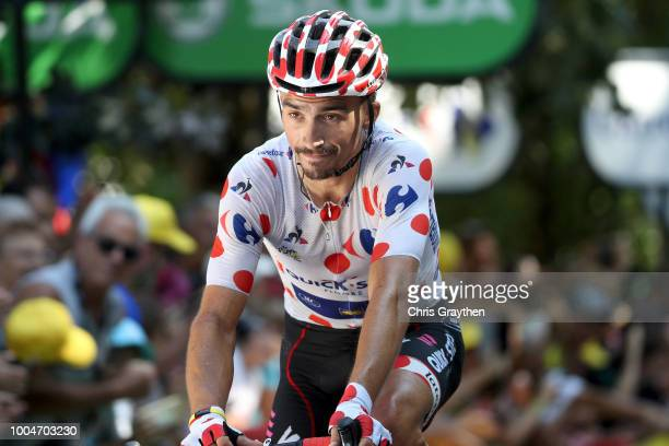 Arrival / Julian Alaphilippe of France and Team Quick-Step Floors Polka Dot Mountain Jersey / Celebration / during the 105th Tour de France 2018,...