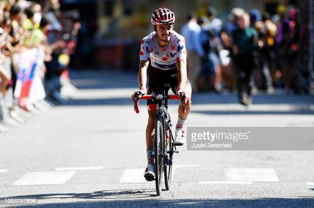 Arrival / Julian Alaphilippe of France and Team QuickStep Floors /Polka dot mountain jersey / Celebration / during the 105th Tour de France 2018...