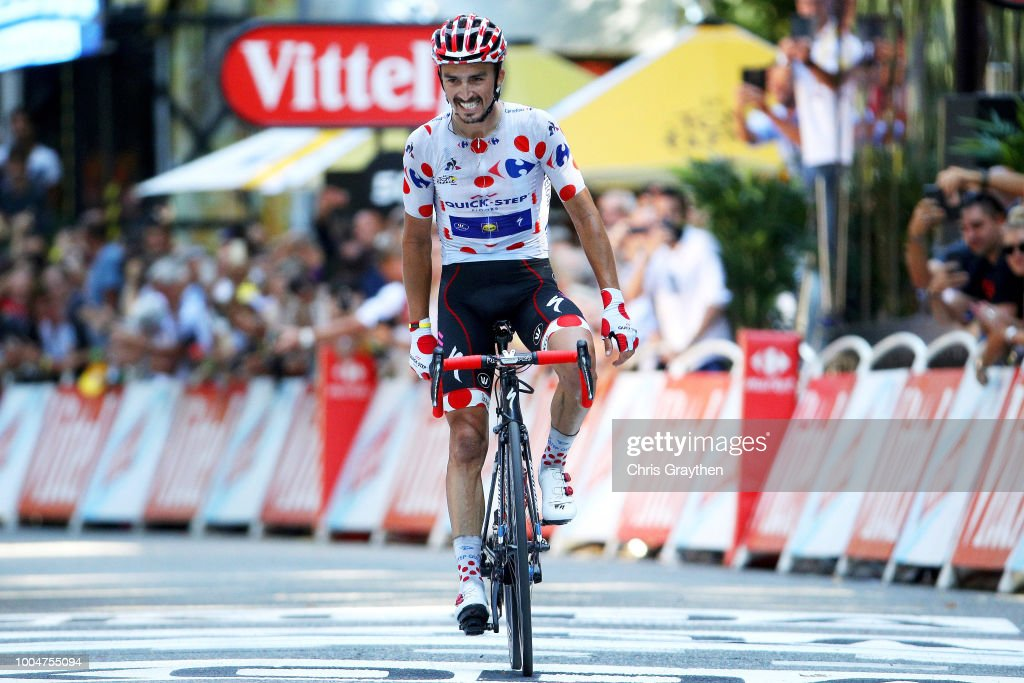 Arrival / Julian Alaphilippe of France and Team Quick-Step Floors Polka Dot Mountain Jersey / Celebration / during the 105th Tour de France 2018, Stage 16 a 218km stage from Carcassonne to Bagneres-de-Luchon on July 24, 2018 in Bagneres-de-Luchon, France.