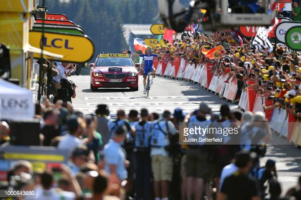 Arrival / Julian Alaphilippe of France and Team Quick-Step Floors / Celebration / Press Media / Fans / Public / during the 105th Tour de France 2018...