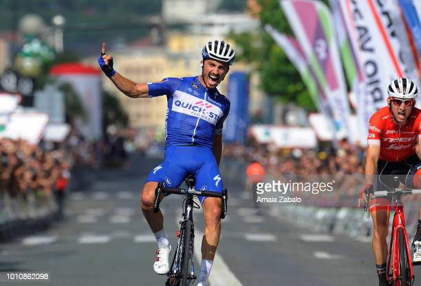 Arrival / Julian Alaphilippe of France and Team Quick-Step Floors / Celebration / during the 38th Clasica de San Sebastian 2018 a 228,7km race from...