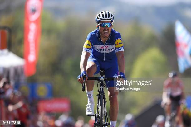 Arrival / Julian Alaphilippe of France and Team Quick-Step Floors / Celebration / during the 82nd La Fleche Wallonne 2018 a 198,5km race from Seraing...