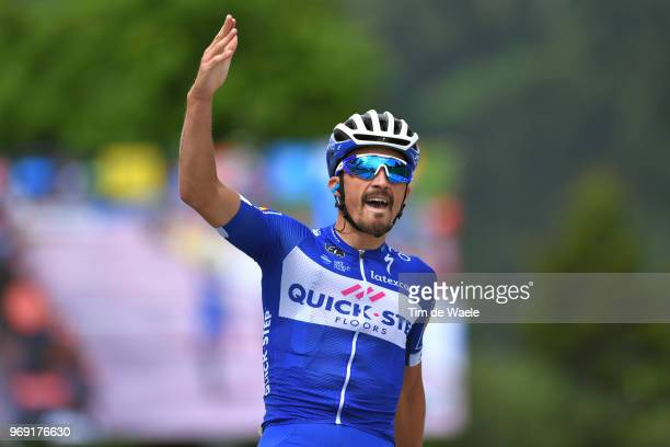 Arrival / Julian Alaphilippe of France and Team Quick-Step Floors / Celebration / during the 70th Criterium du Dauphine 2018, Stage 4 a 181km stage...
