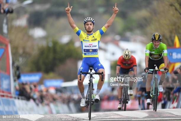 Arrival / Julian Alaphilippe of France and Team QuickStep Floors Yellow Leader Jersey / Celebration / Primoz Roglic of Slovenia and Team LottoNLJumbo...
