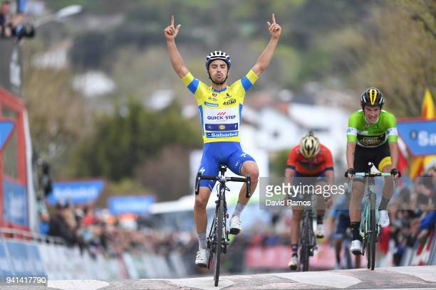 Arrival / Julian Alaphilippe of France and Team QuickStep Floors Yellow Leader Jersey / Celebration / Primoz Roglic of Slovenia and Team LottoNLJumbo...