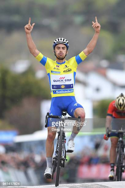 Arrival / Julian Alaphilippe of France and Team QuickStep Floors Yellow Leader Jersey / Celebration / / during the 58th Vuelta Pais Vasco 2018 Stage...