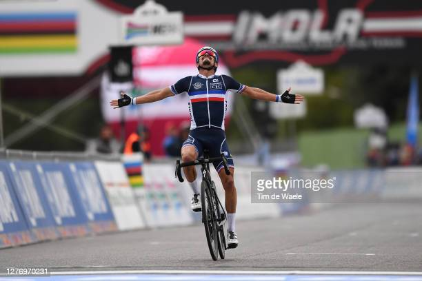 Arrival / Julian Alaphilippe of France / Celebration / during the 93rd UCI Road World Championships 2020, Men Elite Road Race a 258,2km race from...